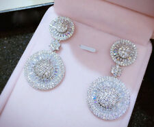 18k White Gold Round Dangle Earrings made w Swarovski Crystal Stone Gorgeous