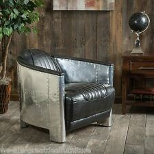 Avia Jet Fighter Design Black Top Grain Leather Accent Chair in Aluminum Sheath