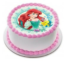 Little Mermaid Ariel Edible Birthday Party Cake Decoration Topper Round Image