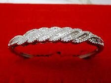 1 CTW Natural Round & Baguette White Diamond Twist Bangle Bracelet Silver 7.5 In