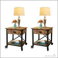 Rustic Side Tables Country Pine Finish Wood & Metal End Nightstand, Set of 2