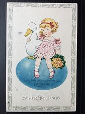 Circa 1925 Vintage Postcard Easter Greetings Lucky Little duckie to be with you