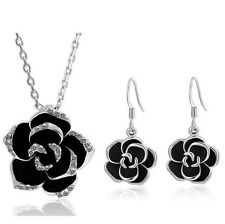18k White Gold Plated Rhinestone Jewelry Sets Black Rose Flower Necklace Earring