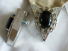 NEW HANDCRAFTED PAIR OF BLACK ONYX  COLLAR TIPS SILVER METAL, GOTH,WESTERN