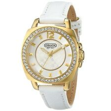 BRAND NEW COACH 14501790 BOYFRIEND WHITE LEATHER GOLD STEEL CASE WOMEN'S WATCH