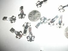 10 GLUE ON FLEUR DE LYS PENDANT BAILS,APPROX18X12MM,SIL PLATE  WITH FREE P&P