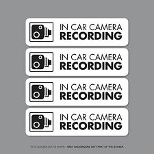 SKU2297/31 - Set Of 4 In Car Camera Recording Car Sign Sticker - CCTV - Dashcam