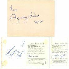 The Beverley Sisters + Johnny & Suma Lamonte signed autograph book page postcard