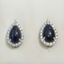 18K WHITE GOLD CABOCHON CUT PEAR SHAPE BLUE SAPPHIRE AND DIAMOND EARRINGS