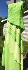 PRECIOUS FORMALS BEADED ONE SHOULDER LAYERED LIME GREEN PROM PAGEANT DRESS  12