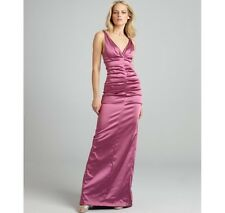 Nicole Miller Raspberry Formal Evening Gown Dress Satin Ruched Size 6 NWT