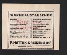 Dresda, Pubblicità 1929, F. Mattick scambiatore di calore