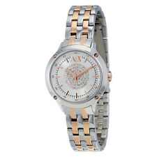 Armani Exchange Silver Crystal Pave Dial Two-tone Ladies Watch  AX5423