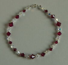 STERLING SILVER 925 CRYSTAL BRACELET Ruby Red SWAROVSKI Elements HANDMADE
