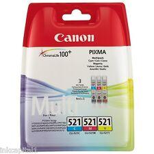 3 x Colore originale OEM Cartucce Inkjet CLI-521 Per Canon MP630, MP 630