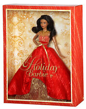 NEW 2014 Holiday Barbie Black Hair Collector Edition Christmas Gold Red w/Stand