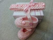 conjunto bebe crochet 0-3 meses rosa diadema y zapatos con lazos de lunares