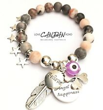 Evil Eye Guardian Angel For Happiness Angel Feather Luck Clover Believe Bracelet