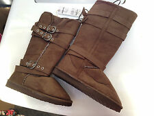 BNWT Ladies Sz 5 Rivers Doghouse Long Mid Brown Buckle Detail Slipper Boots