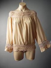 Antique Beige Boat Neck Crochet Romantic Boho Vtg-y Peasant Top 126 ac Blouse L