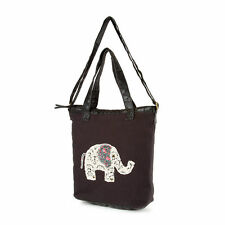 NWT Crochet Elephant Black Tote Bag Faux Leather Strap Floral Ears (Retail $28)