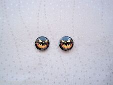 *DOMED GLASS HALLOWEEN JACK O LANTERN PUMPKIN* BLACK Stud 12mm SP Earrings