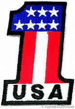 USA 1 iron-on BIKER PATCH AMERICAN FLAG NUMBER ONE new EMBROIDERED ONE US