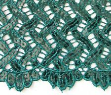 BY THE YARD CROCHET LACE FABRIC  W/EMBROIDERED SEQUINED & SCALLOPED  DESIGN NEW
