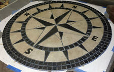 "60"" Handcrafted Porcelain Tile Classic Compass Rose Mosaic Medallion Made in USA"