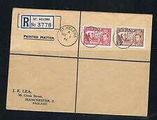 st helena GVI 2/6 and 5/- on a registered cover to england