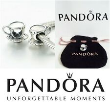 GENUINE Pandora Sterling Silver Tea Cup and Saucer Charm BRAND NEW in Pouch