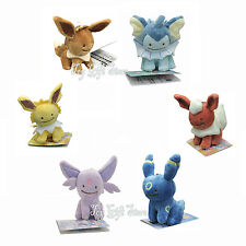 "6pcs Eevee Flareon Espeon Umbreon 3.5"" Ditto Metamon Poke Plush Doll Figure"