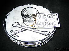8 222 Fifth SKULL BLACK Halloween Appetizer Plates