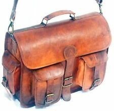 Men's Genuine Brown Leather Vintage Messenger Shoulder Laptop Briefcase Bag