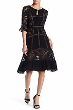 NWT For Love and Lemons Ellery black midi lace paneled dress size S - $299