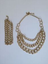 H&M Set Kette + Armband gold Gliederkette Blogger trend studio Statement