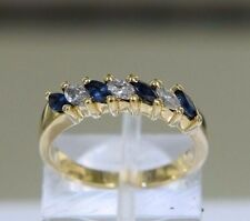Marquise Sapphire Diamonds 14k Yellow Gold Band Ring Size 5.25 (3.3 grams)