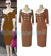 Retro Celebrity Vintage WIGGLE PENCIL CASUAL Sheath Slim Fit Long Midi Dress 4XL