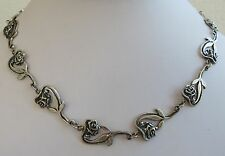 Cast sterling silver studio modernist garden link slender rose  necklace