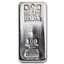 One piece 100 oz 0.999 Fine Silver Bar Republic Metals Corporation Lot 8626