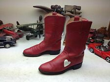 JUSTIN USA WESTERN RED LEATHER WHITE HEART LEATHER ROPER DANCE BOOTS 5.5 A
