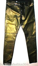 New J Brand Jeans 32 Skinny Womens Coated Leather Metallic Gold Green Leather