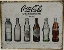 COCA COLA bottles through the years metal sign coke coca cola weathered look1839