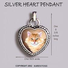 TABBY ORANGE Longhair Persian Maine Coon Cat -Ornate HEART PENDANT Silver