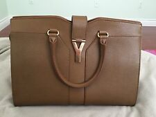 YSL Saint Laurent Cabas Chyc Beige Textured Calf Leather Small Tote