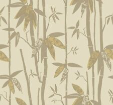Contemporary Bamboo Stalks With Shiny Golden Leaves Wallpaper AC6090