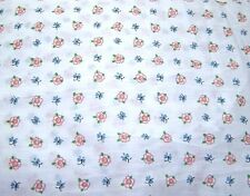 White,Cotton Fabric Pink Flowers and Blue Butterflies Quilting, Crafting, Sewing