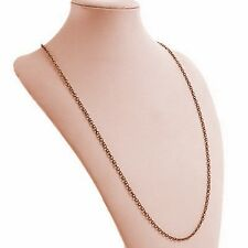 """Antiqued Copper Alloy 1mm Fine Link 32"""" Cable Chain Necklace"""