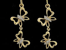 E088- Genuine 9ct Solid Gold Natural Diamond Butterfly Drop Dangle Earrings