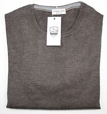 Men's COUNTRY CLUB Italy Brown Wool Pullover Jumper Crewneck Sweater 52 L NWT
